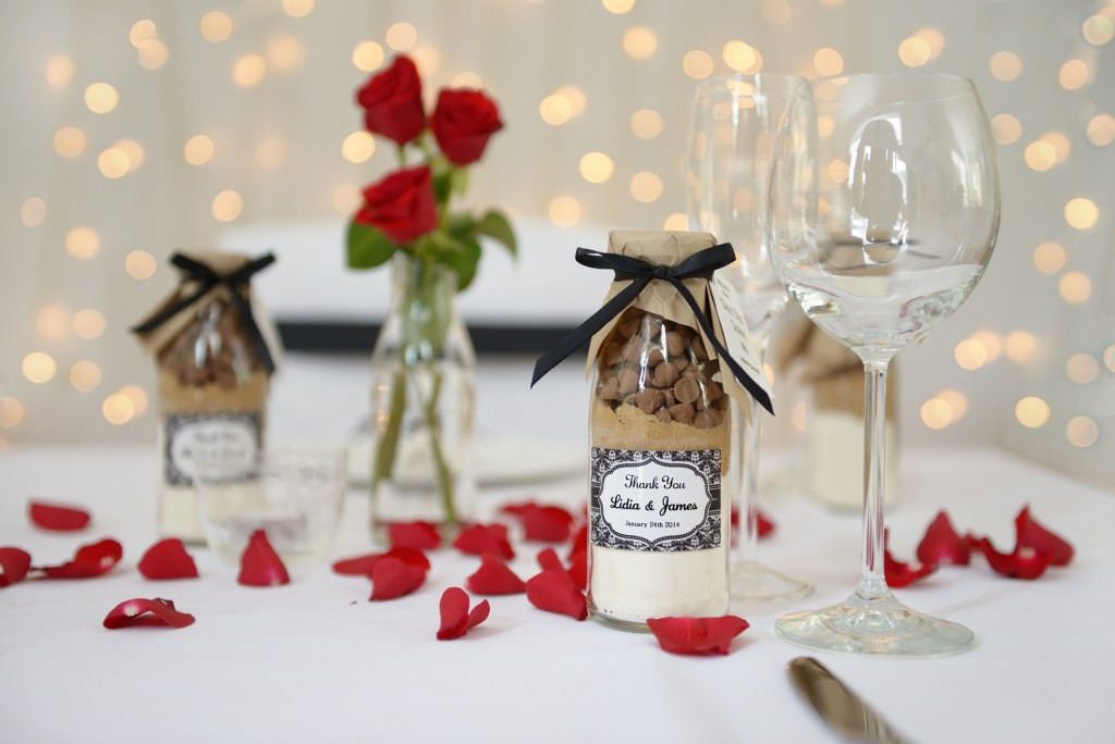 Cookie mix wedding favour bottles