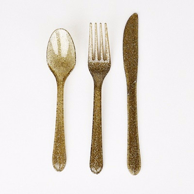 Gold glitter cutlery, $8.95, 24 pack - Ruby Rabbit Partyware