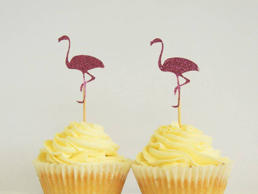 Flamingo cupcake toppers - Love The Occasion
