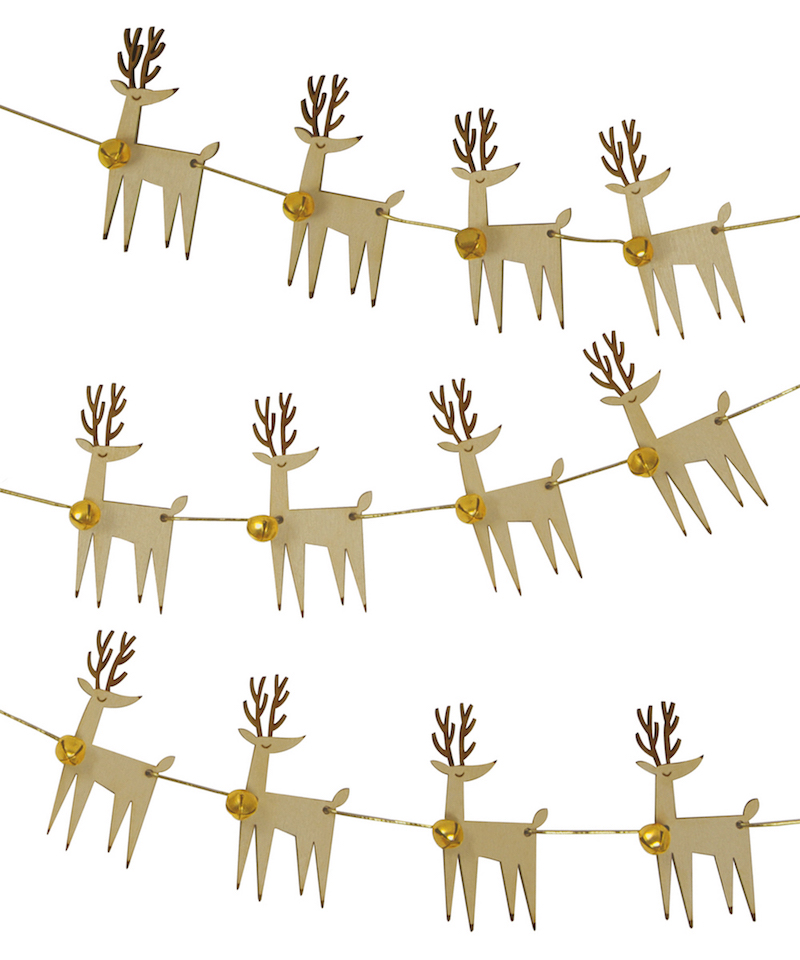 Wooden Christmas reindeer bunting, $19.99 - Style Party Love