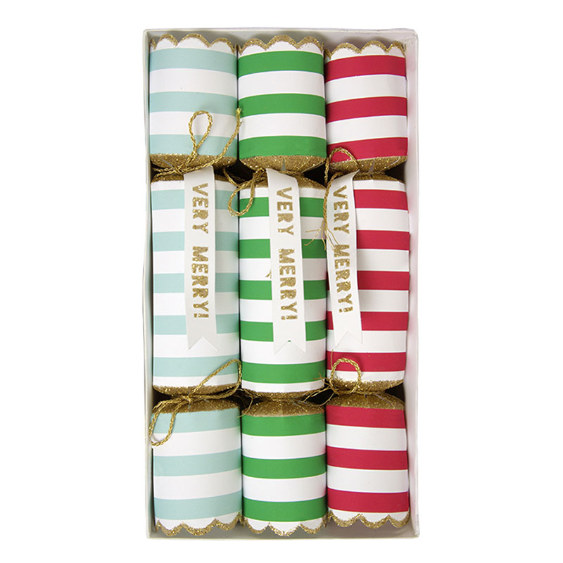 Very merry mini crackers, 6 pack $34.95 - Ruby Rabbit Partyware