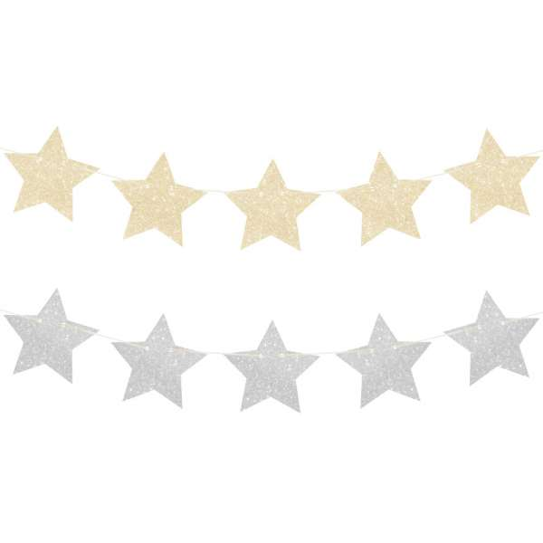 Christmas glitter star garland - The Party Parlour