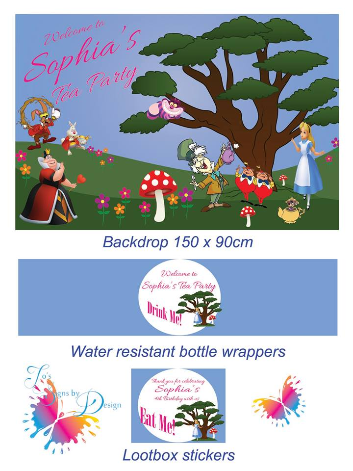Alice in wonderland party stationery and backdrop - Jo's Signs by Designs