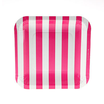 Hot pink striped plates - Ruby Rabbit Partyware