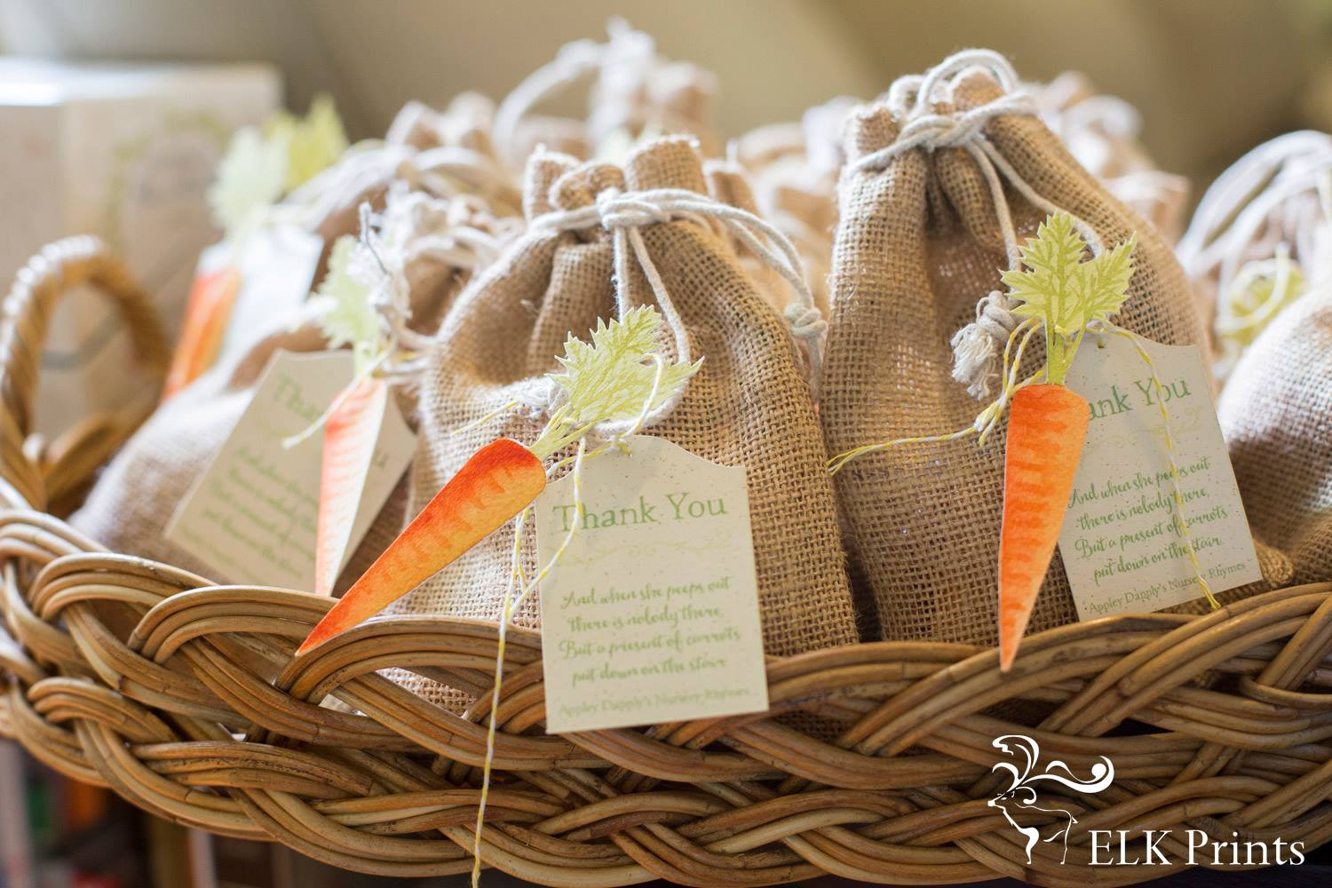 Custom carrot favour bags - Elk prints