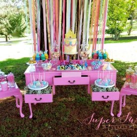 Fuschia tables for hire - Sweet Heavenly Events Hire (Sydney). Styling by Super Sweet Styling