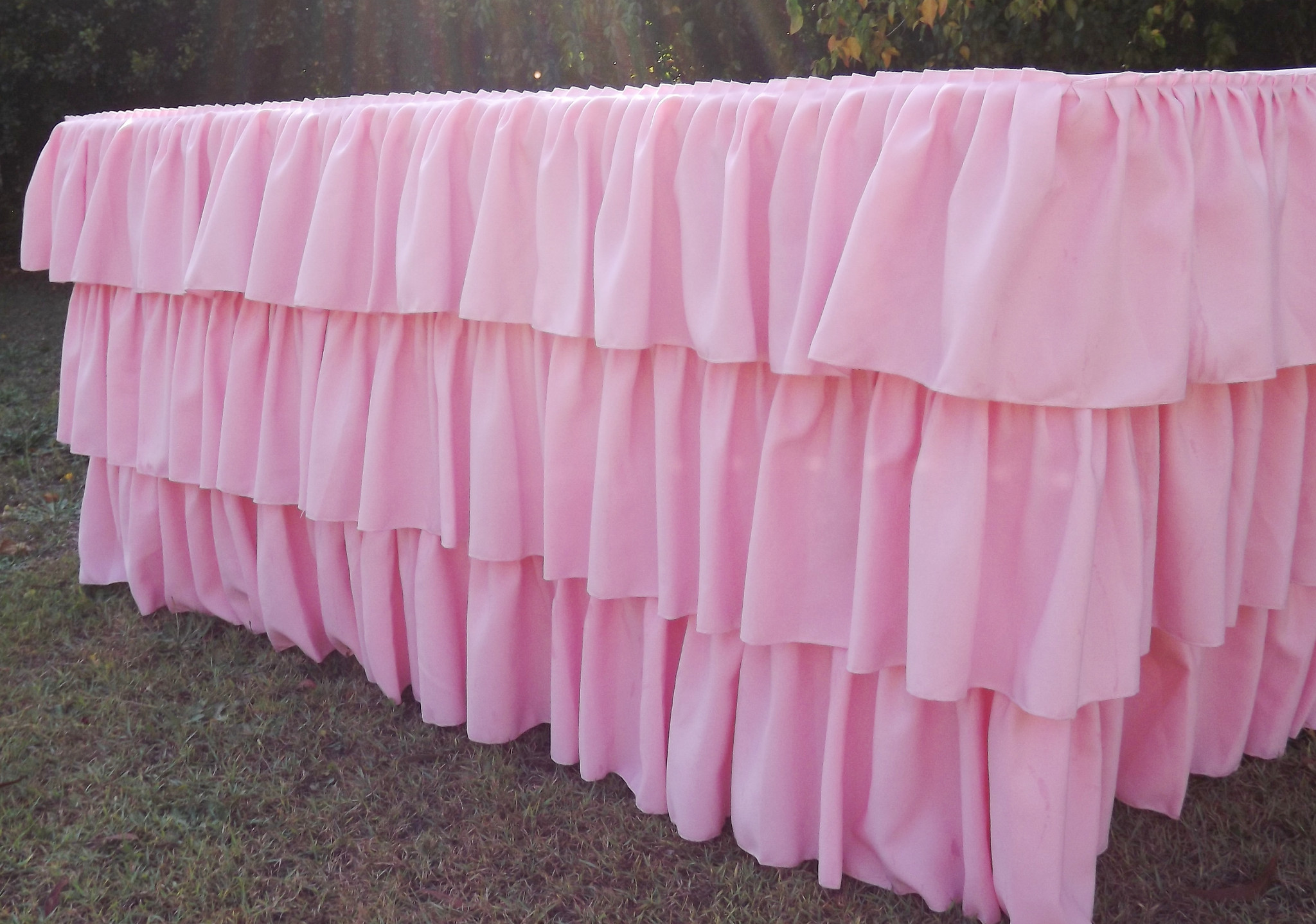 Pink ruffled tablecloth for hire (or purchase) - Saffy and May (Qld)