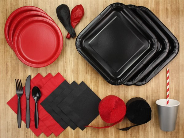 Red and black party tableware kit - The Kit Source