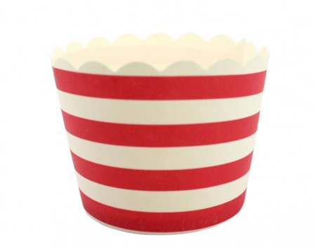 Red and white stripe baking cups - Love The Occasion