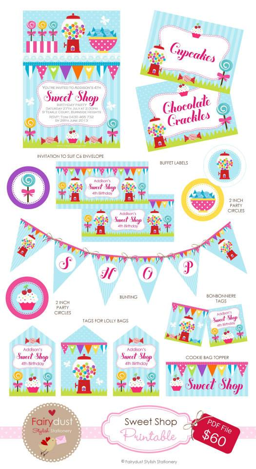 Candyland party printables - Fairydust Stylish Stationery
