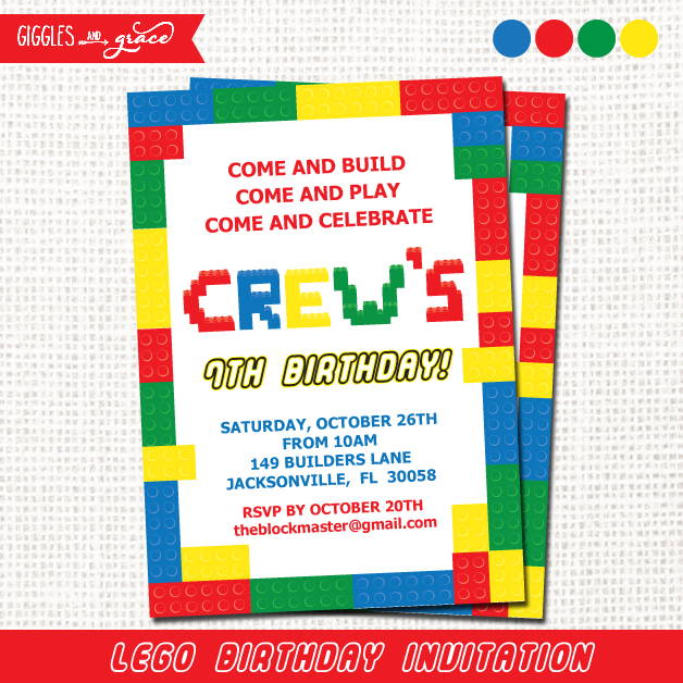 Lego party invitation - Giggles and Grace Designs