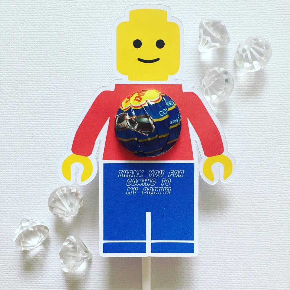 Lego favour lollipop holder - Glitter and Glue Designs