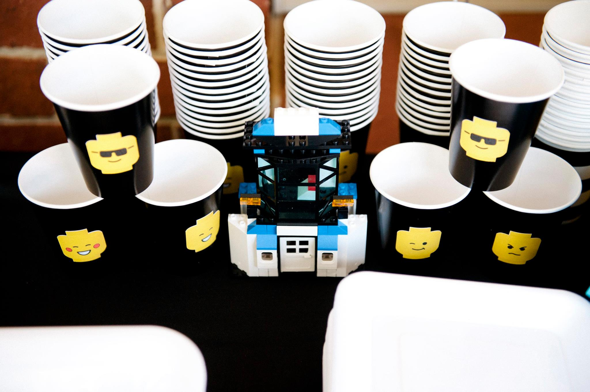 Lego stickers for cups - Glitter and Glue Designs Party styling by Dream a little Dream children's parties