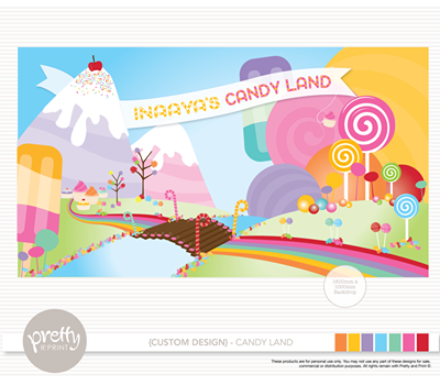 Candyland party backdrop - Pretty and Print