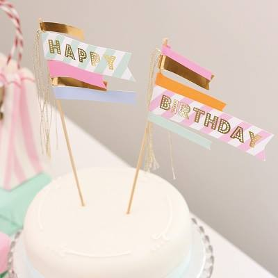 Toot Sweet Happy birthday cake topper - Ruby Rabbit Partyware