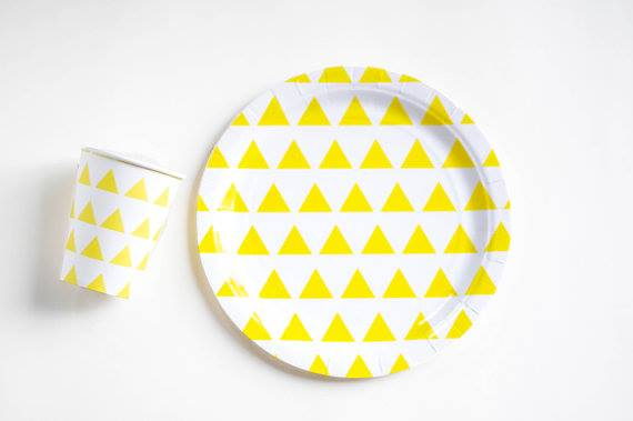 Yellow triangle plates - Ruby Rabbit Partyware