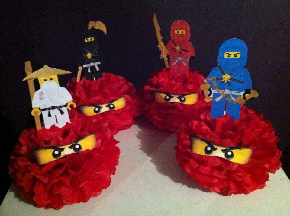 Lego Ninjago party pom poms - Theme It Party Boxes