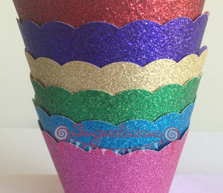 Glitter cupcake wrappers - Sugarlicious Parties