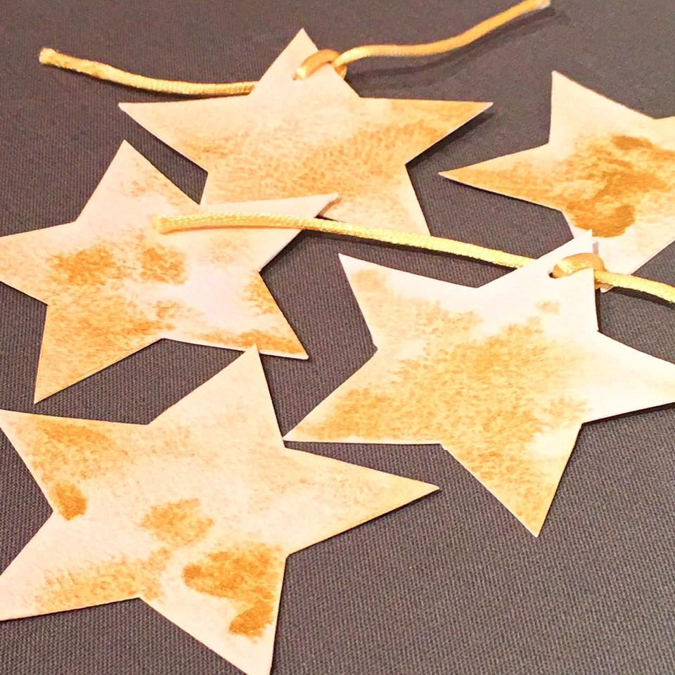 Custom star hand painted gift tags - Elk Prints