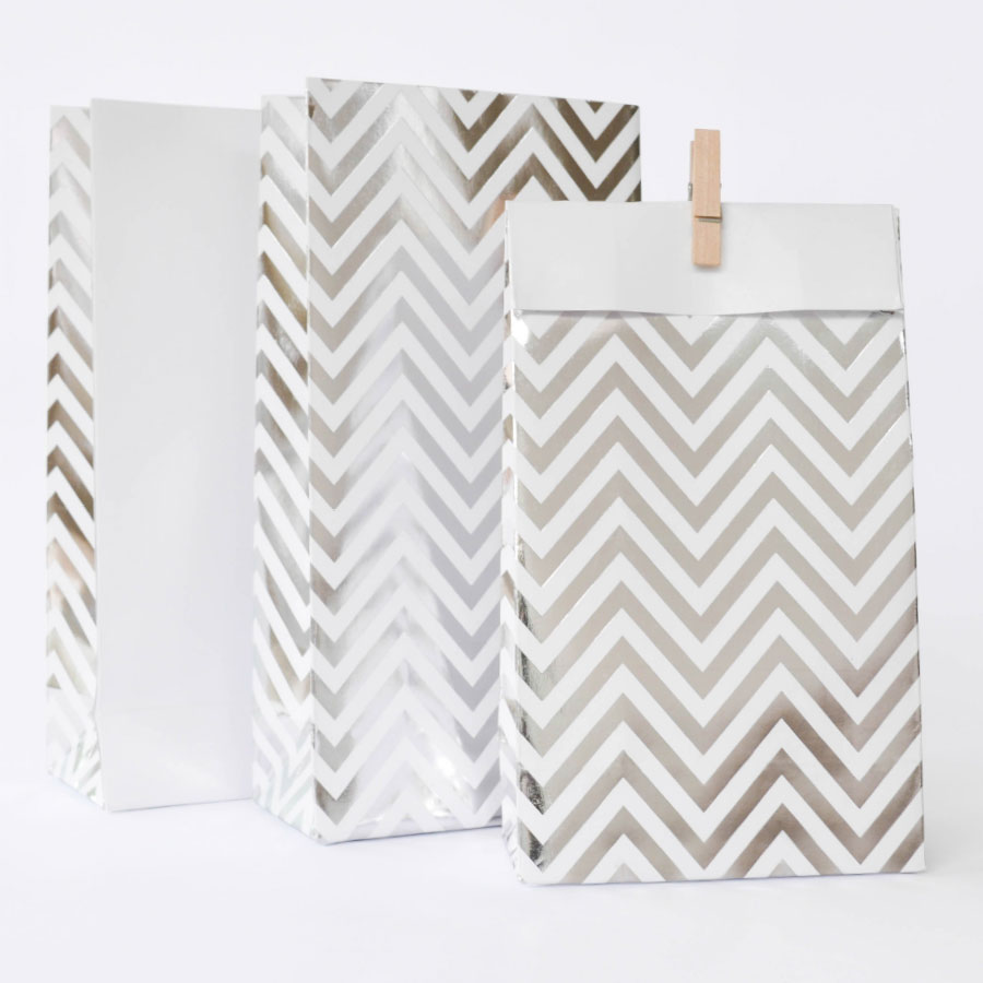Silver foil chevron party bag - Love The Occasion