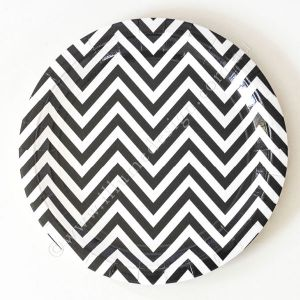 Large black and white chevron plates - Love The Occasion