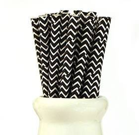 Chevron black and white straws - Love The Occasion