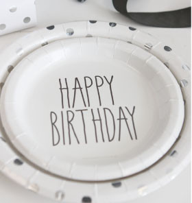 Black and white happy birthday plates - Saffy and May