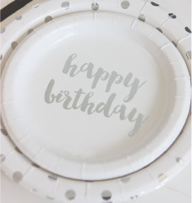 Silver foil party plates - Saffy and May