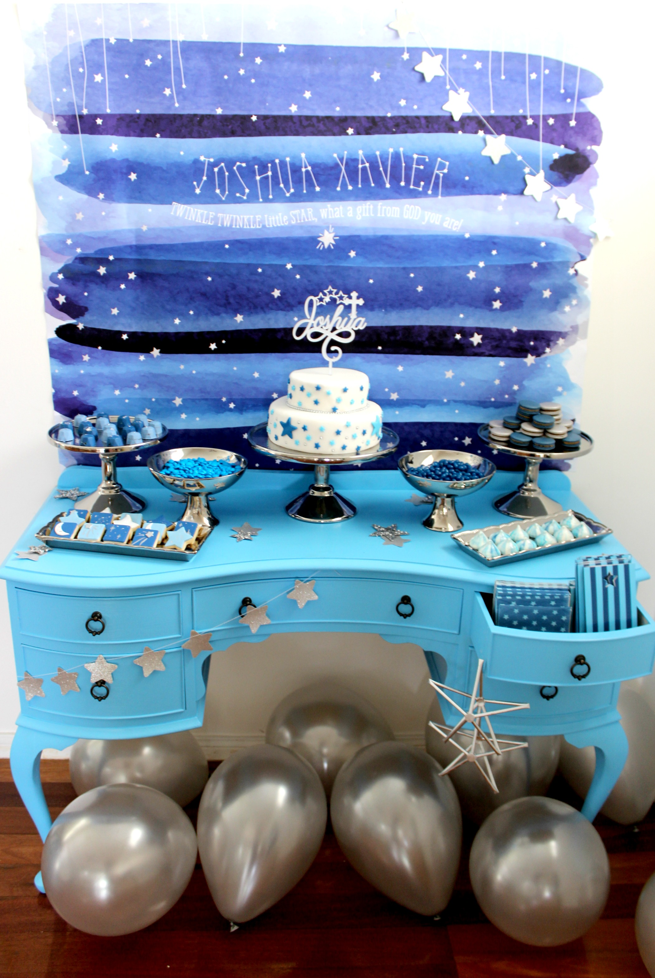 Twinkle Twinkle little star baptism dessert table - Life's Little Celebrations