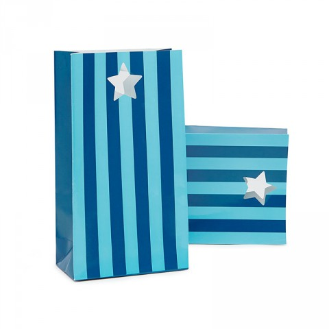 Blue stripe star favour bags - Emiko Blue
