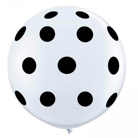 Giant round black and white balloons - Emiko Blue