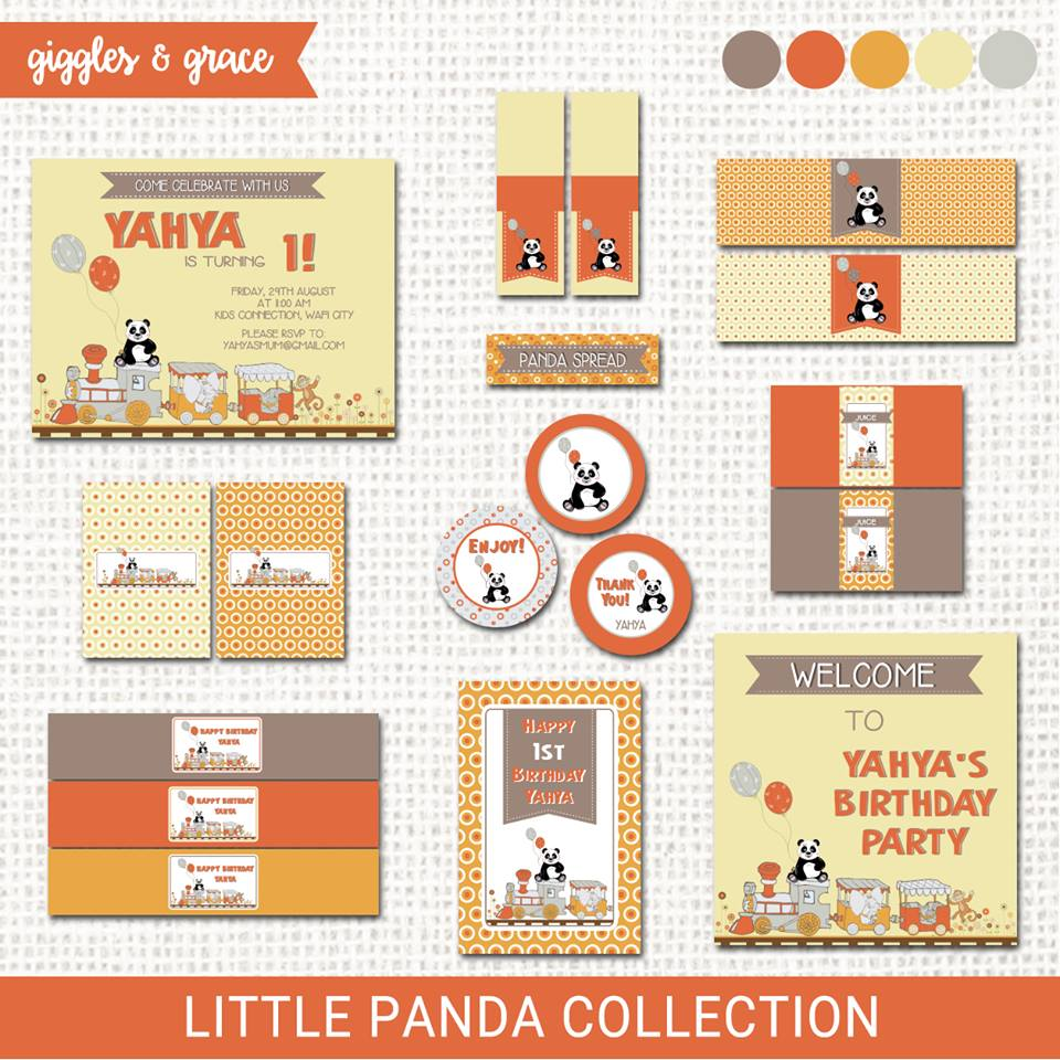 Panda party invitation and printables - Giggles and Grace Designs