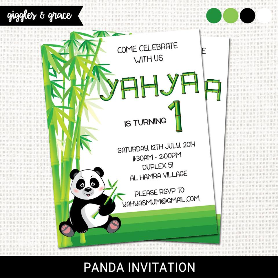 Panda party invitation - Giggles and grace designs