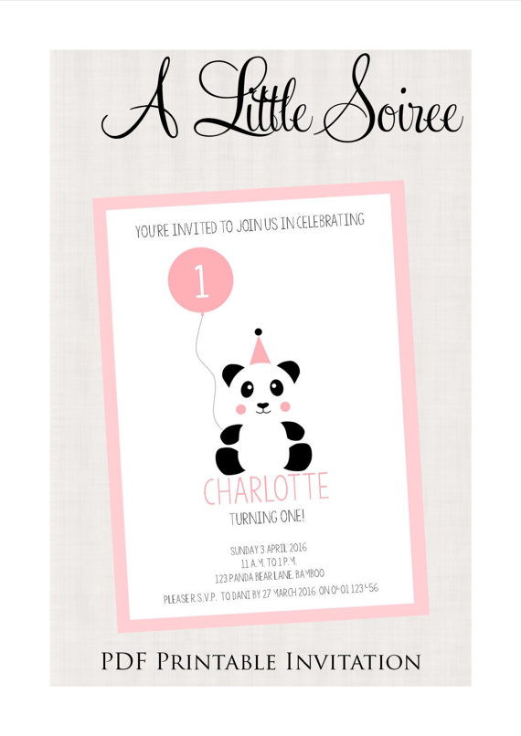 Panda invitation - A Little Soiree