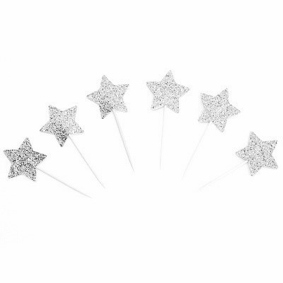 Silver star cupcakes toppers - Ruby Rabbit Partyware