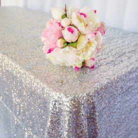 Silver sequin tablecloth for hire - Sweet Heavenly Events and Hire (Sydney)