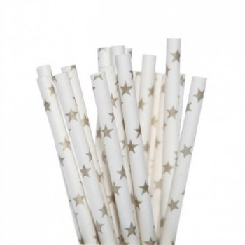 Paper straws with gold stars - Deer Little Parties