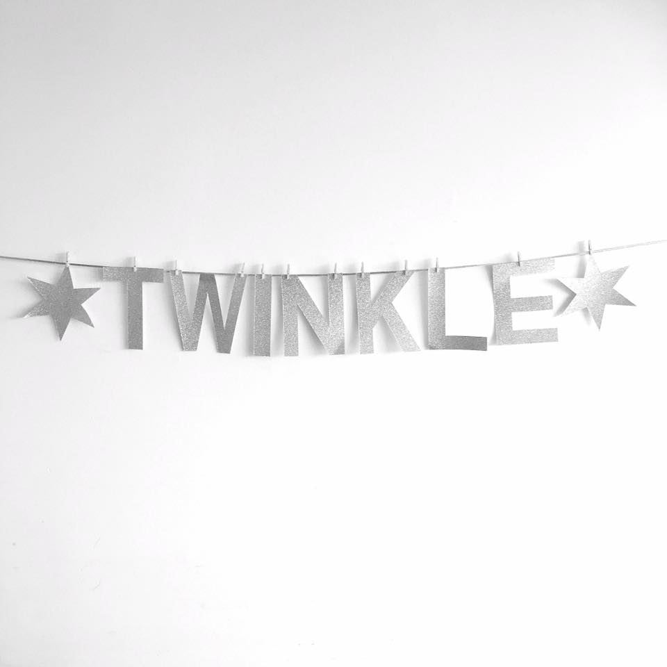 Twinkle Twinkle silver glitter garland - Sugarlicious Parties