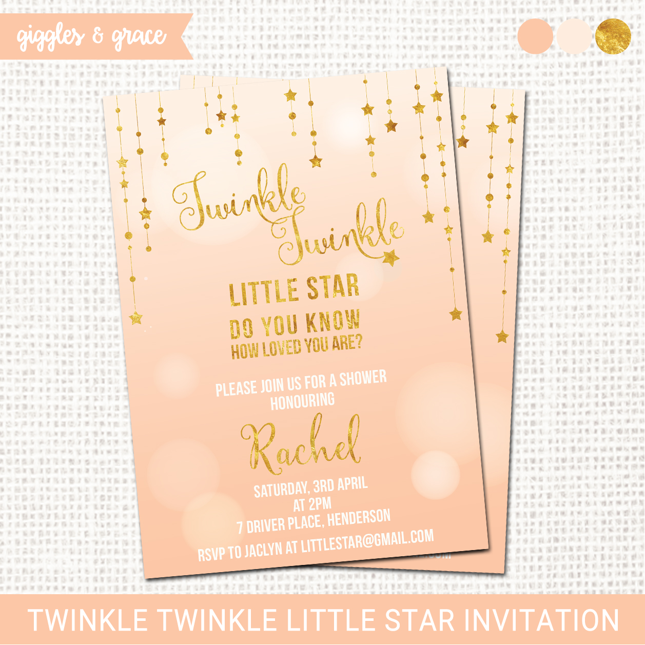 Twinkle Twinkle little star invitation - Giggles and Grace Designs