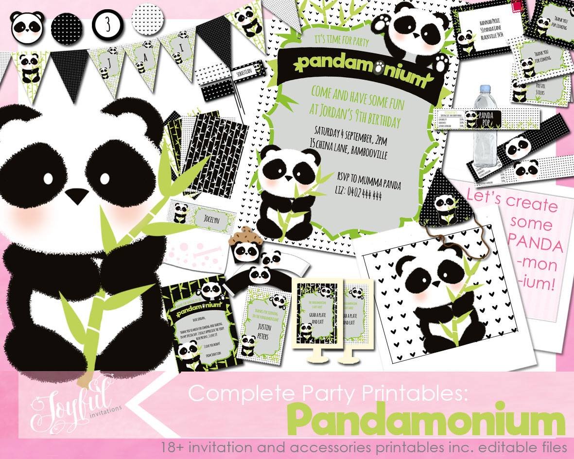 Panda party printables - Joyful Invitations