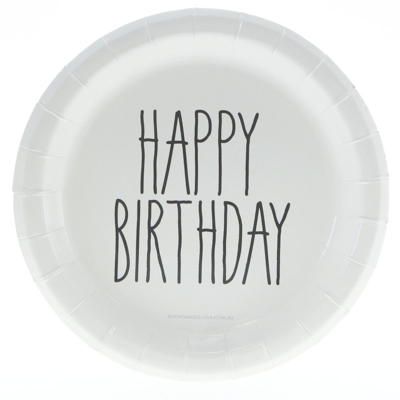 Black and white happy birthday plates - Hip and Hooray