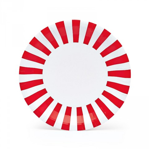 Red candy cane plates - Emiko Blue