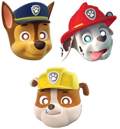 Paw Patrol party masks - Fantasy Kids Parties