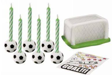 Soccer candles birthday cake kit - Fantasy Kids Parties