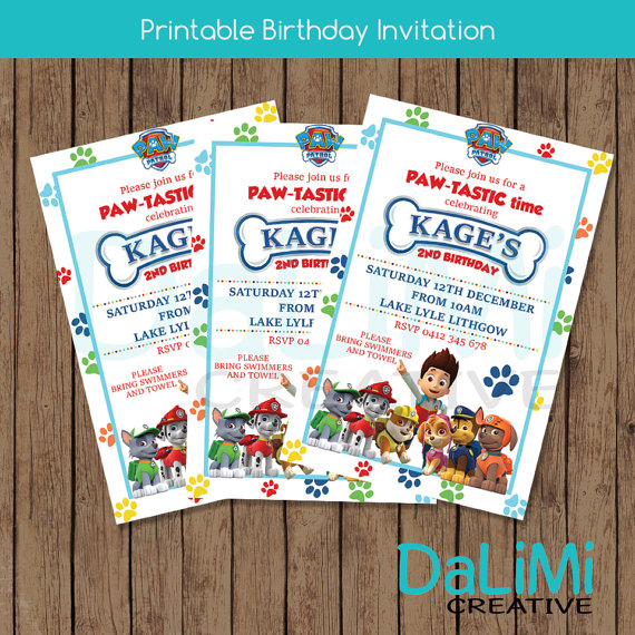 Paw Patrol invitation - Dalimi Creative