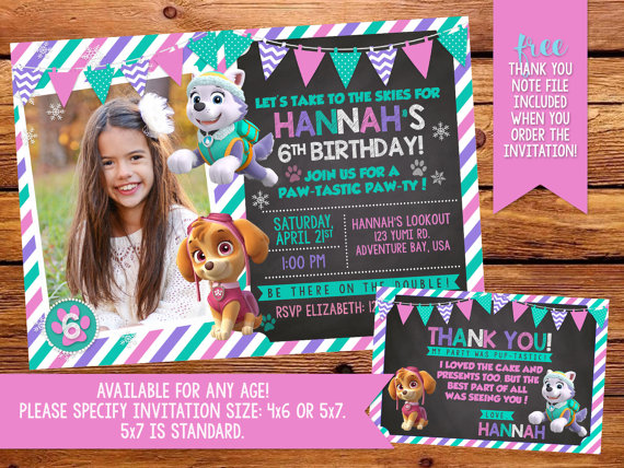 Paw Patrol Skye and Everest party invitation - Eez designs