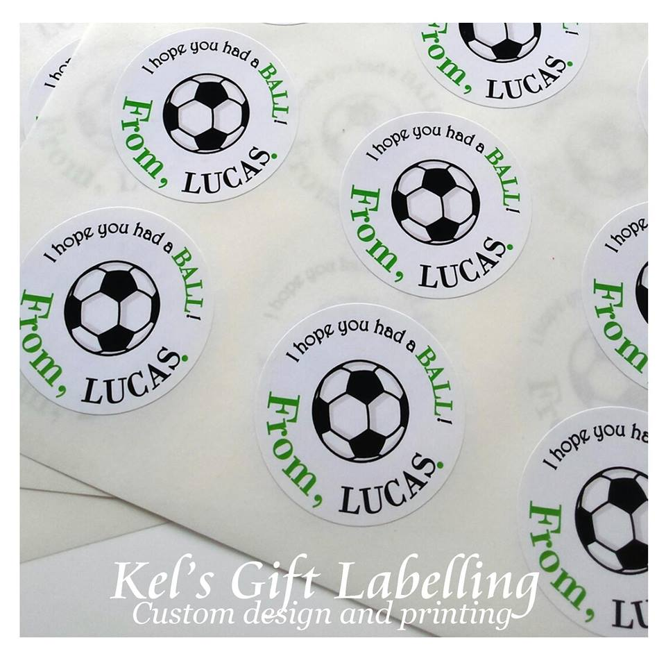 Soccer party favour labels - Kel's Gift Labelling