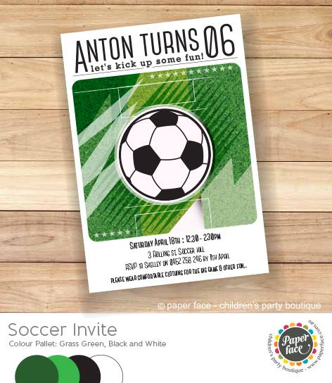 Soccer party invitation - Paper Face