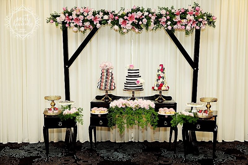 Black console tables and arbour - Sweet Heavenly Events and Hire (Sydney)