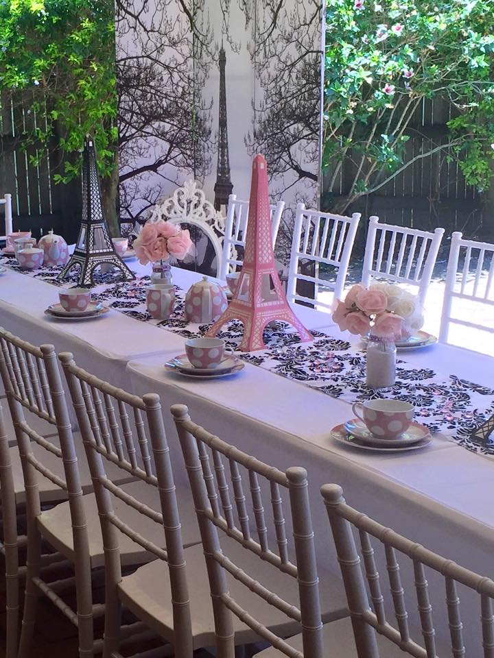 Paris party props and tables and chairs - Enchanted Party hire (Qld)